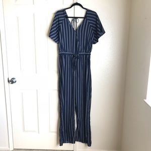 Pinstripe Jumpsuit with Flutter Sleeves Size XL